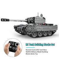 New Stainless Steel Remote Control RC Tank Wars 952PCS Military Model Building Blocks Bricks 80m Tank Toy