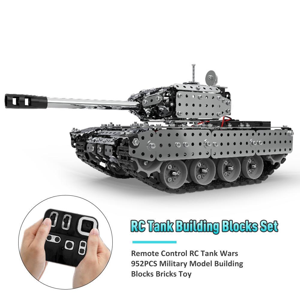 Nouveau acier inoxydable télécommande RC Tank Wars 952 pièces modèle militaire blocs de construction briques 80 m réservoir jouet