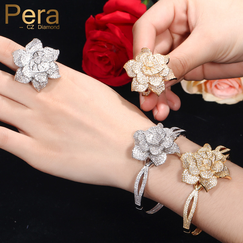 Pera Luxurious Bridal Wedding Dubai Yellow Gold African AAA+ Cubic Zirconia Big Flower Shape Bangle Sets for Women Jewelry Z040