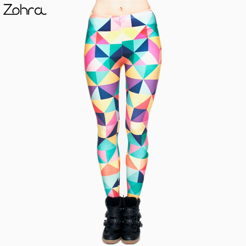 Zohra Fashion Triangles Color Printing Legins Womens   Legging   Stretchy Trousers Casual Pants   Leggings   Free shipping