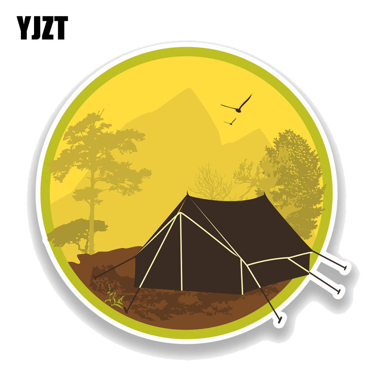 YJZT 14.7CM*14CM  Wilderness Outdoors Camping Decal PVC Motorcycle Car Sticker 11-00766