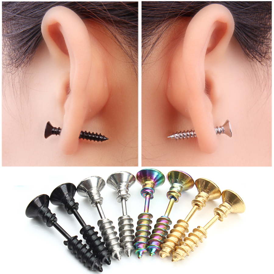 1 Pair Punk Mode Emas Warna Hitam Stainless Nail Screw Stud Earring untuk Wanita & Pria Helix Ear Piercings Fashion Perhiasan F3903
