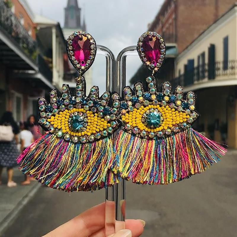 Melhor senhora boêmio frisado olhos borla brincos para as mulheres design exclusivo casamento jóias artesanal colorido franjas brincos de gota