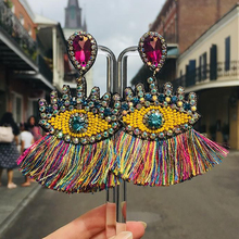 Best lady Bohemian Beaded Eyes Tassel Earrings for Women Unique Design Wedding Jewelry Handmade Colorful Fringed Drop