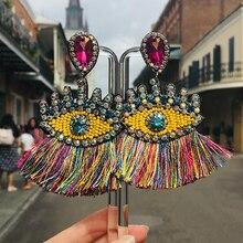 Best lady Bohemian Beaded Eyes Tassel Earrings for Women Unique Design Wedding Jewelry Handmade Colorful Fringed Drop Earrings