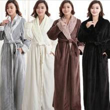 Autumn and winter thick flannel robe long neutral faux fur collar warm Femme Long Sleeve Home
