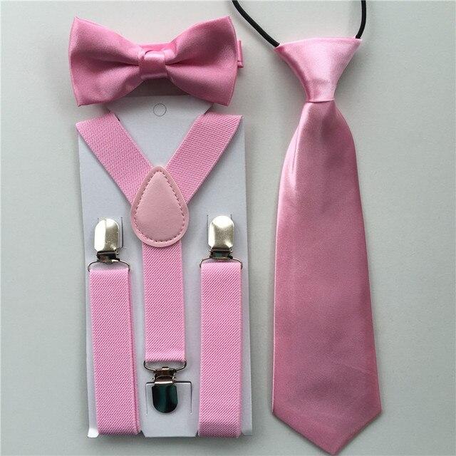 cf66a87fe Color rosa clásico sólido colores niños tirantes corbatas de moño conjunto elástica  ajustable correas de accesorios