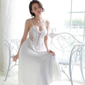 Image 4 - 새로운 여성 속옷 레이스 드레스 궁전 절묘한 아름다움 섹시한 nightdress 긴 레이스 잠옷 여성 슬링 드레스 + 가운 2 조각 세트