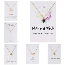 Fashion Elegant Pine Conch Birthstone Necklaces Gold Color Triangle Circle Round Ball Pendant Necklace Wish Card Jewelry Gift