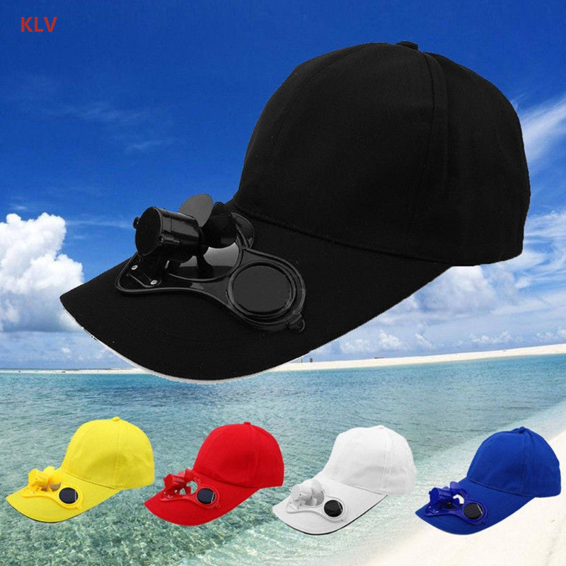 KLV Solar Panel Powered Fan Cooling Baseball Cap Summer Sport Outdoor Cap Travel New