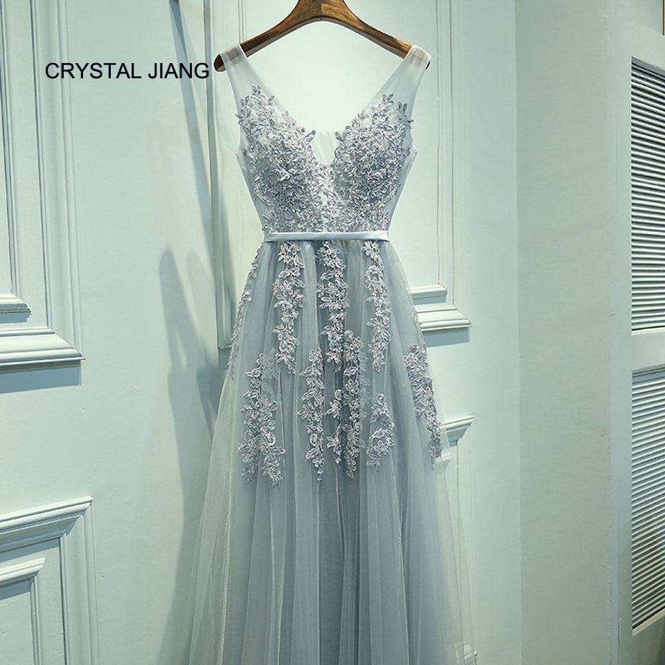 CRYSTAL JIANG vestido De Festa V Neck Sleeveless Vintage Lace Appliques Beaded   Bridesmaid     Dresses   Women Formal Party Gowns