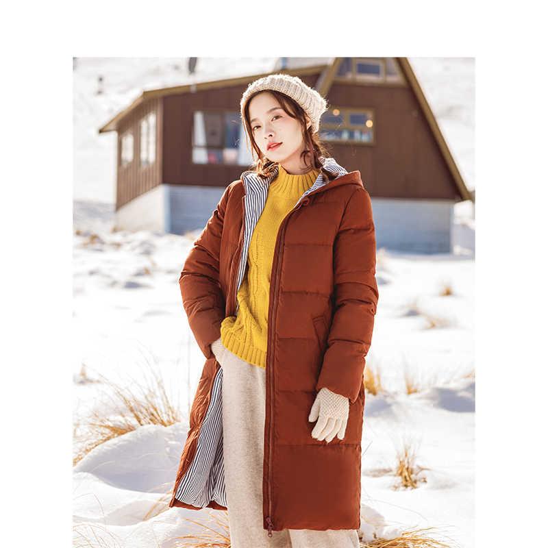 INMAN новые зимние куртки на утином пуху с капюшоном, плотное длинное пальто