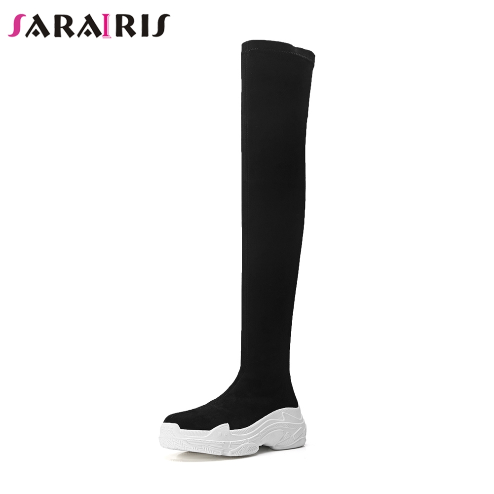 SARAIRIS 2019 Autumn Natural Cow Suede High Knee Boots Women Platform Dady Shoes Female Wedges Shoes