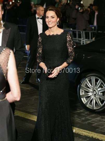 Sexy Black Lace Sheer Sleeves Celebrity Dresses Mermaid Kate Middleton Rani  Dress 2015 Red Carpet See Through Party Gowns Modern cadde4fd2fe5