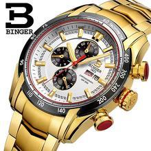 2017 watches men luxury brand Wristwatches BINGER Quartz Gold color watch Sport Chronograph clock Diver glowwatch B1163-5
