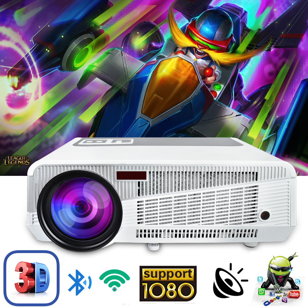 Poner Saund 4800 Lumens WIFI 3D Home Theater 1280x800 PC Multimedia 1080P HD Video HDMI USB Portable LCD LED Projector proyector poner saund dlp n1 mini portable projector battery 15000mah android wifi full 3d bluetooth home theater hd 1080p hdmi usb sd