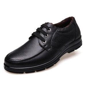 Image 3 - أحذية من الجلد الحقيقي الرجال أحذية الشتاء ماركة الأحذية أحذية دافئة أفخم حذاء كاجوال رجالي الذكور عالية الجودة جلد البقر المتسكعون KA444