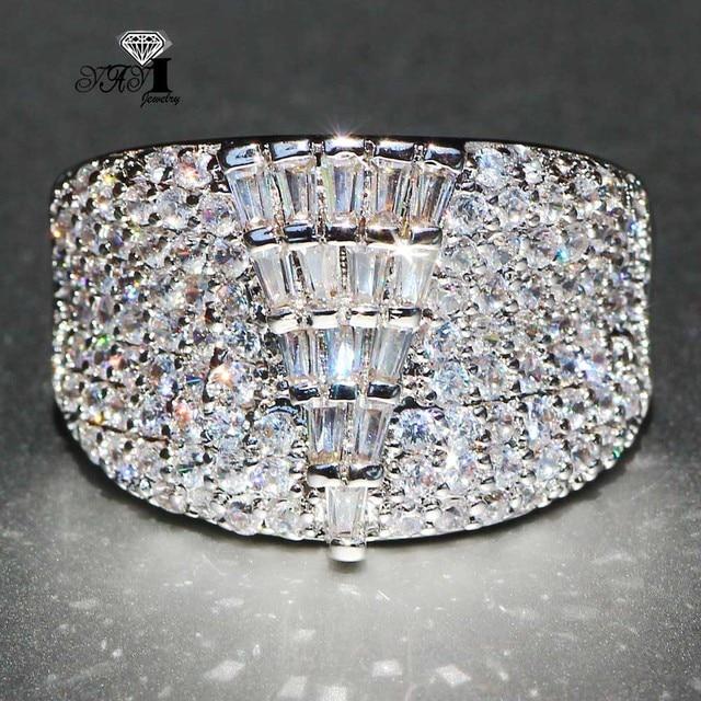 YaYI Jewelry Fashion Princess Cut Huge 4.9 CT White Zircon Silver Color Engageme