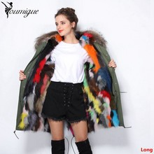 YOUMIGUE Women multicolor raccoon fur collar hooded long coat parkas raccoon fur lined winter jacket casacos de inverno feminino