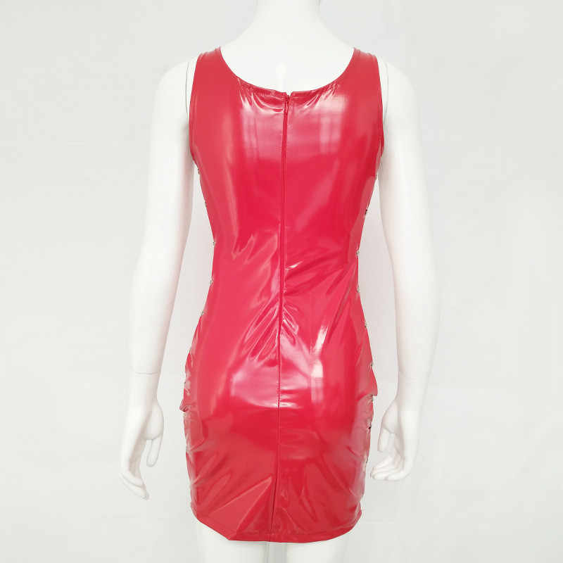 3501951d01c ... FABCHARMAX 3 color women sexy latex dress hollow out chains tank top  sleeveless red PU club ...