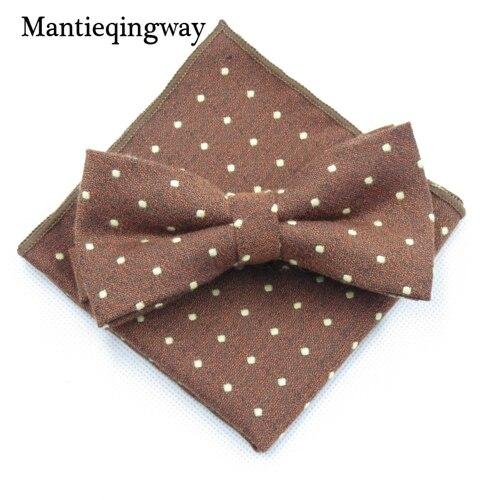 Mantieqingway мужской хлопчатобумажный галстук-бабочка носовой платок набор бизнес костюмы бантики точка карман квадратное полотенце для сундуков Hankies для свадьбы - Цвет: MYBZZ054BN