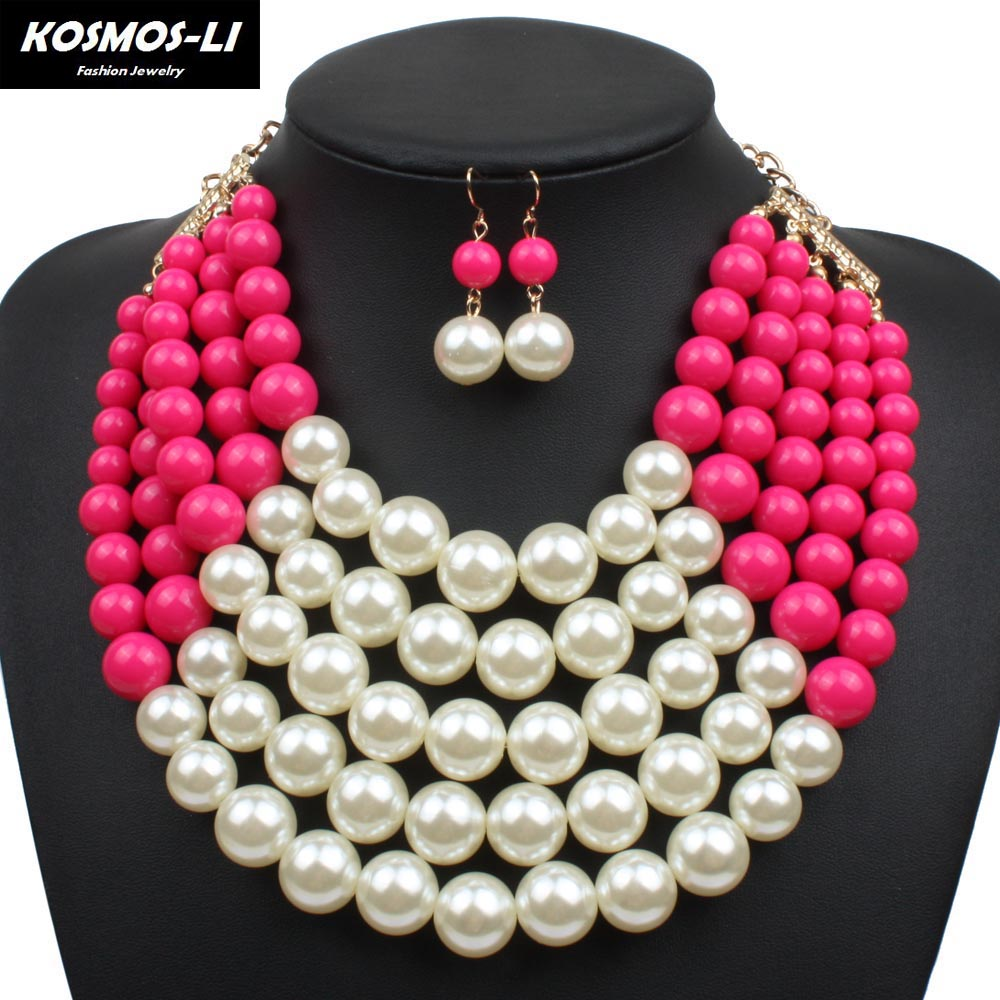 Multi Layer Necklace Gold Plate New Fashion Simulate Plastic Pearl Necklace  Acrylic Bead Chain Necklace Women