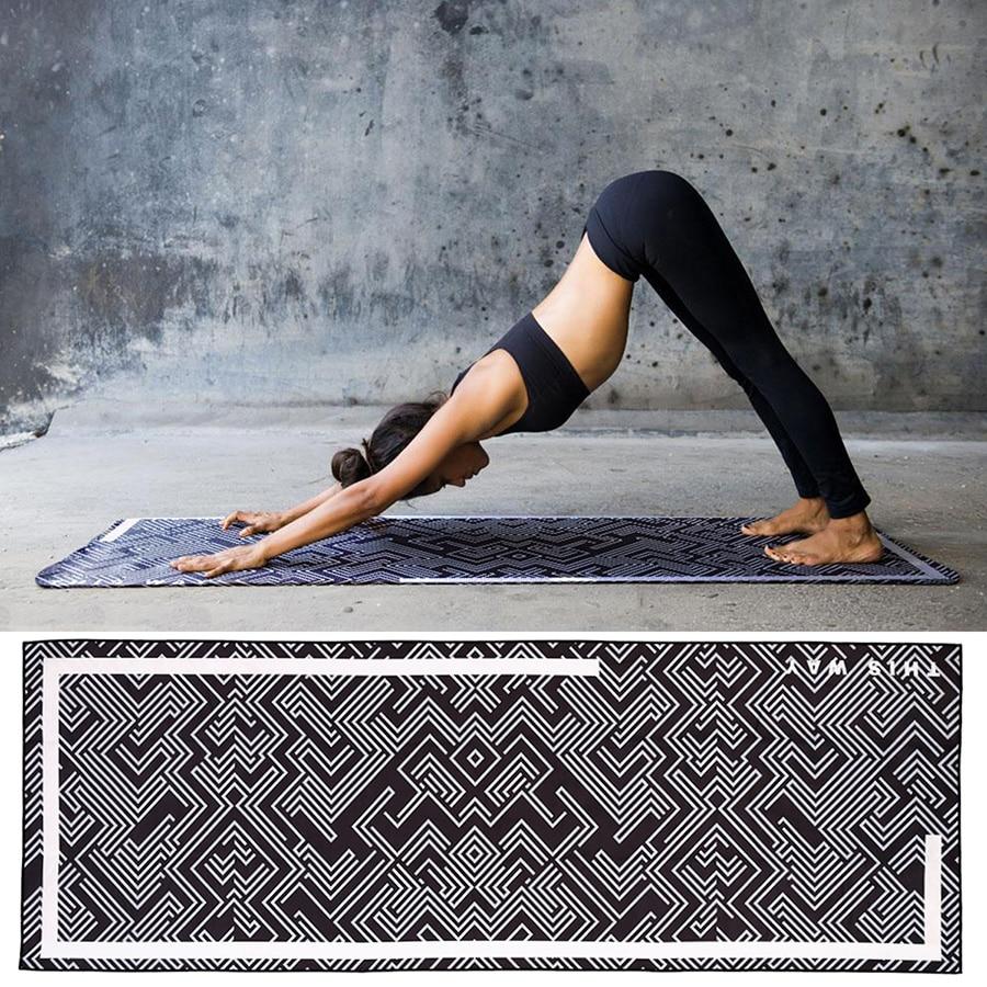 Digtal Print Black Yoga Mat Towel Mircofiber Sport Fitness Gym Exercise Pilates Workout Portable Training Cover Blanket