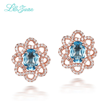 l&zuan 925 Sterling Silver 1.475ct Natural Topaz Blue Stone Elegant Stud Earring For Woman fine jewelry earrings