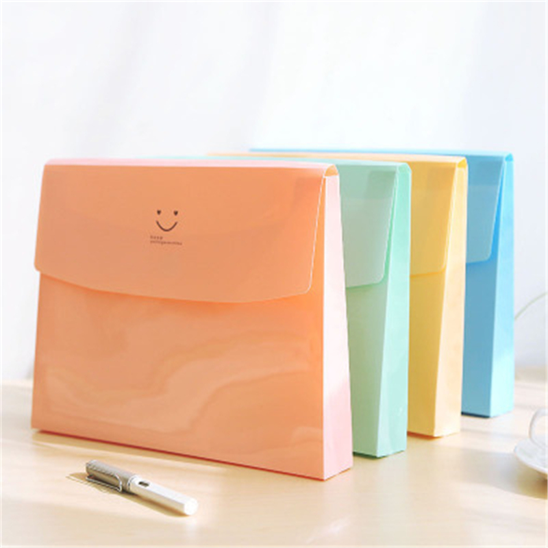 Korea Creative Cute Smile Folder Folder Bag Box File Bag Office Stationery Album Desk Set