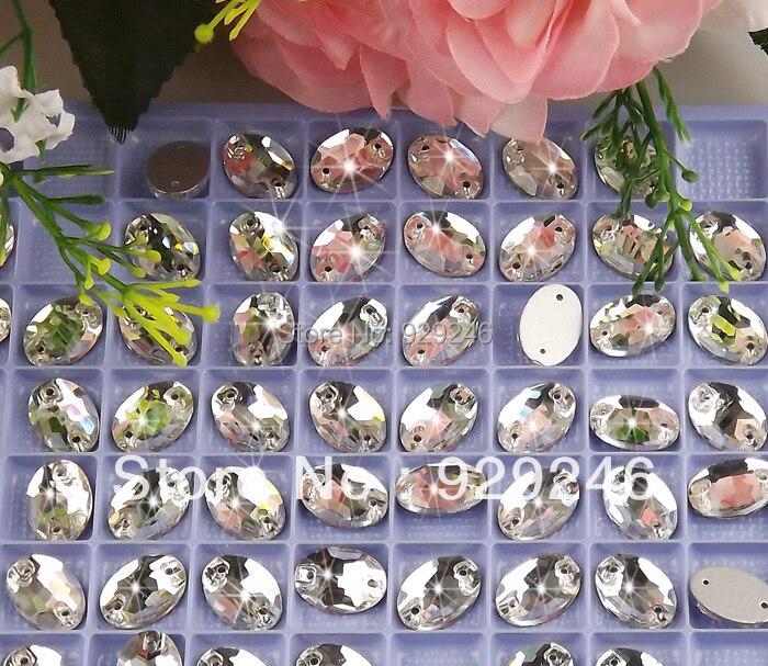 920e98e05804 100 unids pack 10 14mm forma oval cristalino claro de cristal flojos  rhinestone costura on con agujeros para el traje sombrero arte de costura  Decoración