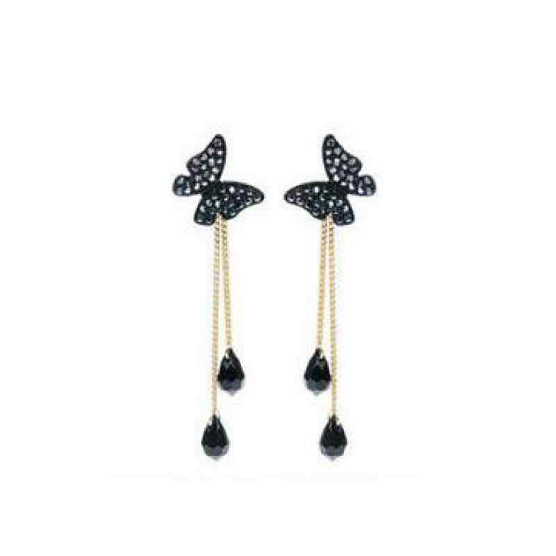 Wholesale Sales Hot Sale Earrings Retro Punk New 2018 Fashion Earrings Butterfly Crystal Fringed Long Ladies Pendant Earrings