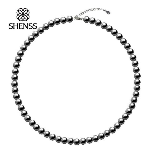 Elegant Dark gray Shell Preal Necklace Classic Temperament Necklace 6-10mm Shell Pearl 925 Sterling Silver Chain for Women