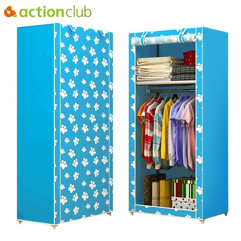 Actionclub Simple Non-woven Wardrobe Combination DIY Assembly Wardrobe Folding Single Storage Cabinet Dustproof Small Closet
