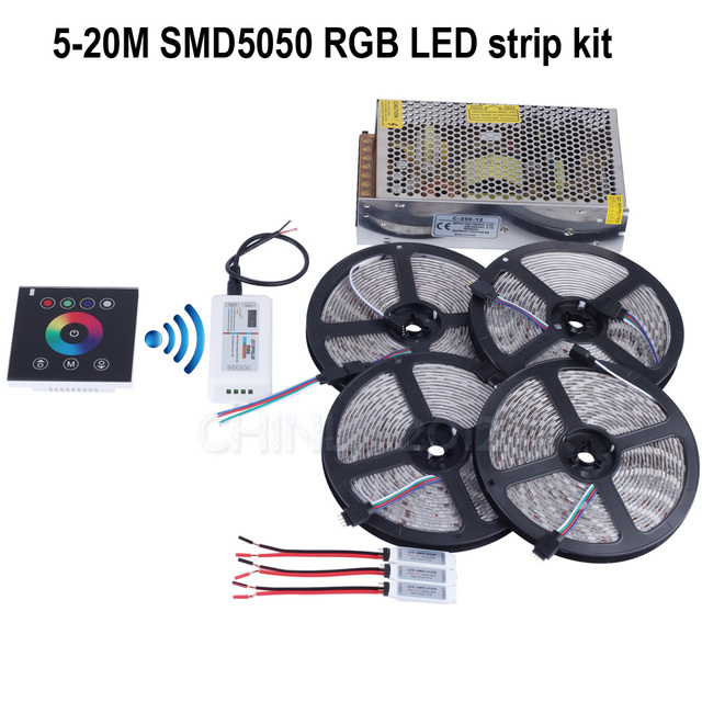 5m/10m/15m/20m 12V RGB led strip light lSMD 5050 5M 300led Waterproof+2.4G Wireless wall switch touch controller+Amplifier+power