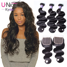 "UNice Hair Kysiss Series Human Hair Bundles With Closure 8-30""Peruvian Hair Body Wave Bundles With Lace Closure(China)"