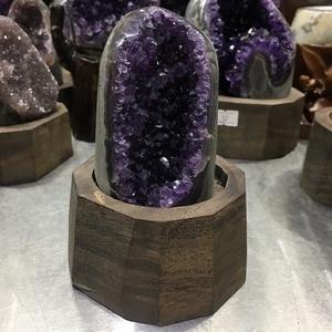 Image 5 - 640g Natural Uruguay Purple Amethyst Hole Quartz Crystal+stand