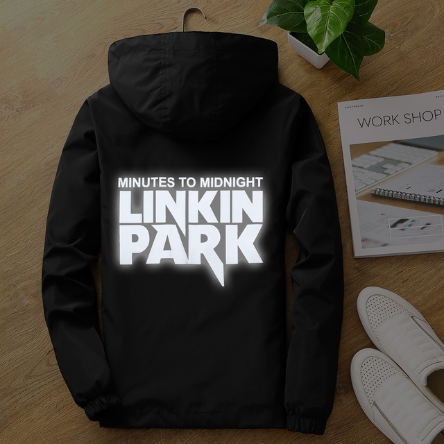 Cap & Máscara como Presentes S para linkin park 7XL plus size Luz-reflexivo jaqueta de hip hop das mulheres dos homens rapper DJ casaco corta-vento com capuz