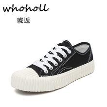 Whoholl 2018 Nouvelles Femmes De Mode de Chaussures Vulcaniser Chaussures  Printemps Automne Filles Occasionnels Toile Chaussures 9d9067336f7