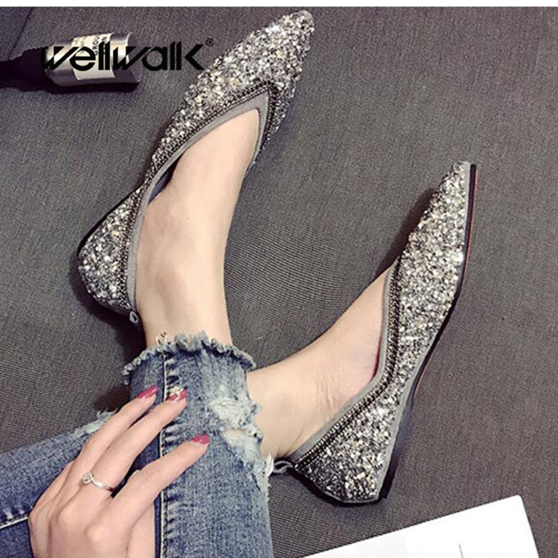 2018 lady flat shoes women ballet flat shoes foldable blings ballerinas casual pointed toe slip on shoes