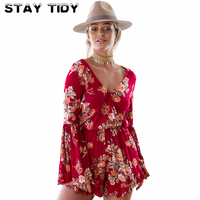 STAY TIDY Summer Boho Red Floral Print Women Short Jumpsuit 2017 Deep V Neck Long Sleeve