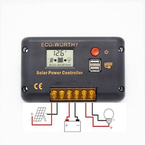 Image 5 - ECOworthy 100 Вт Солнечная Система питания: 100 Вт моно солнечная панель питания и 20A ЖК контроллер и 5 м черный красный Кабели Зарядка для 12 В батареи-in Солнечные энергосистемы from Бытовая электроника
