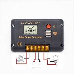 Image 5 - Система солнечной энергии ECOworthy 100 Вт: Моно панель солнечной энергии 100 Вт, ЖК контроллер 20 А, черные и красные Кабели 5 м для зарядки батареи 12 В