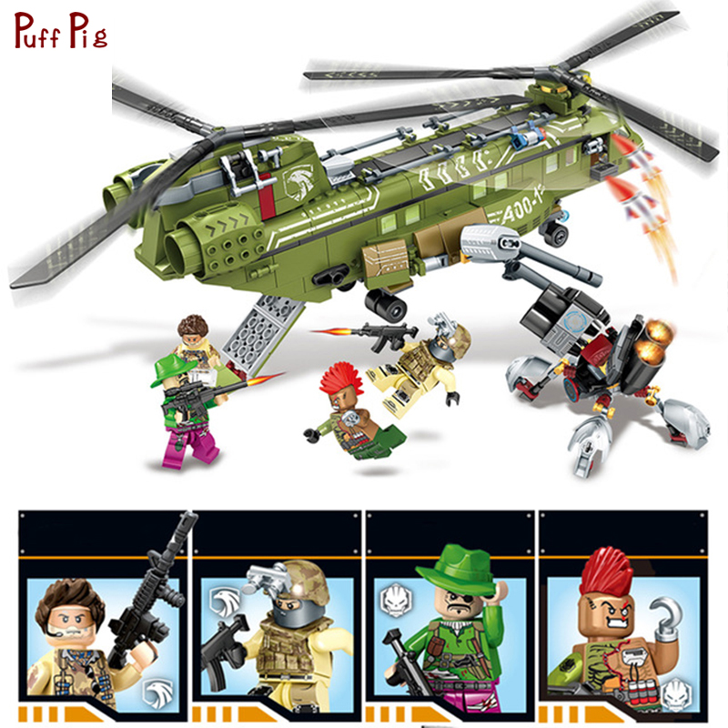 506pcs Military Swat Helicopter Building Blocks Special Forces Soldier Figures Compatible Legoed Army Bricks Toys Gift For Child 6pcs swat team city police world war 2 military soldier army special forces building blocks brick figures toys boy gift children
