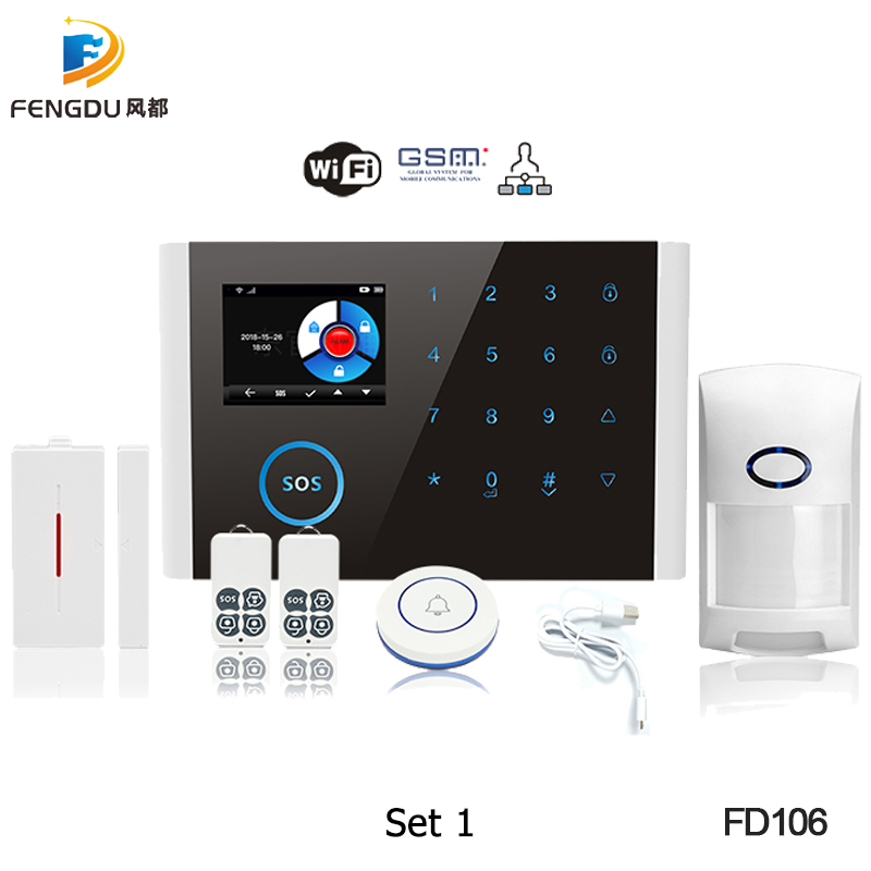 2019 GSM Alarm System APP Remote Control Smart Home Intelligent 2.4inch TFT Touch Panel GSM GPRS SMS Wifi Alarm System Security