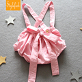 2017 Summer New Children's Clothing Infant Baby Girl Cute Pink Bow PP Cotton Overalls Shorts