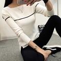 Female fashion sweater pullover women spring autumn stripe new basic knitting shirt slit neckline slim black and white sweater