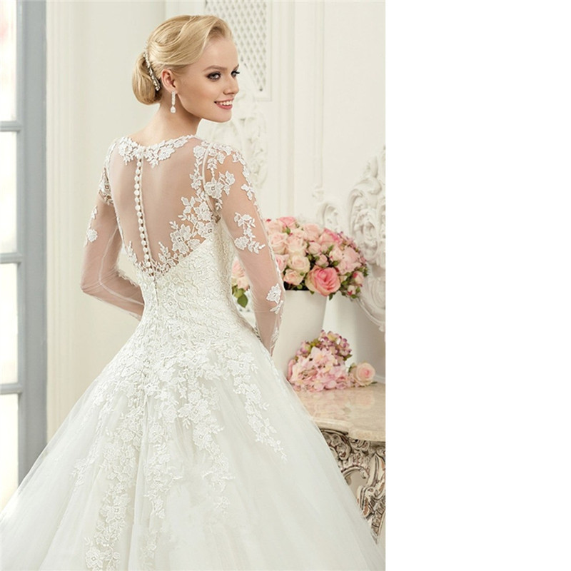 Aliexpress.com : Buy Vintage Long Sleeve Lace Ball Gown Wedding ...
