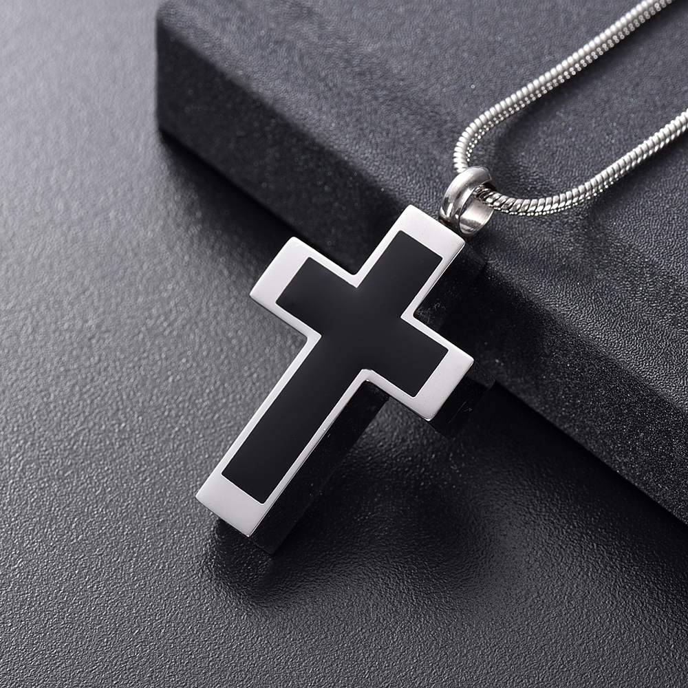 IJD11124 Funeral Jewelry -Black Cross Stainless Steel Memorial Urn Necklace Locket Hold Ashes Keepsake Cremation Pendant For Men 2