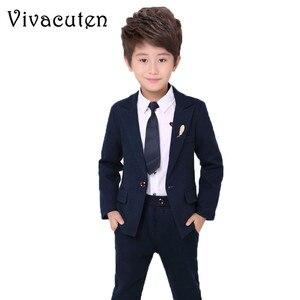 Image 1 - Marka kwiat chłopcy odzież zestaw dzieci elegancka suknia ślubna marynarka koszula spodnie krawat do garnituru dzieci Prom ceremonia kostium F009