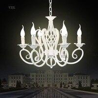 Criativo simples preto branco lustre de ferro luzes do candelabro quarto restaurante iluminação lustre de vela de Iluminação|Luzes de pendentes| |  -
